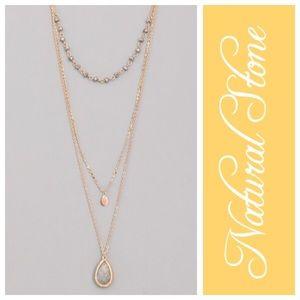 Jewelry - NWT Layered Gray Stone Teardrop Pendant Necklace